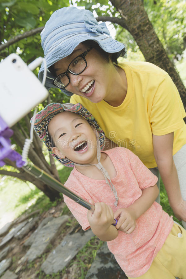 Familien selfie stockfotografie