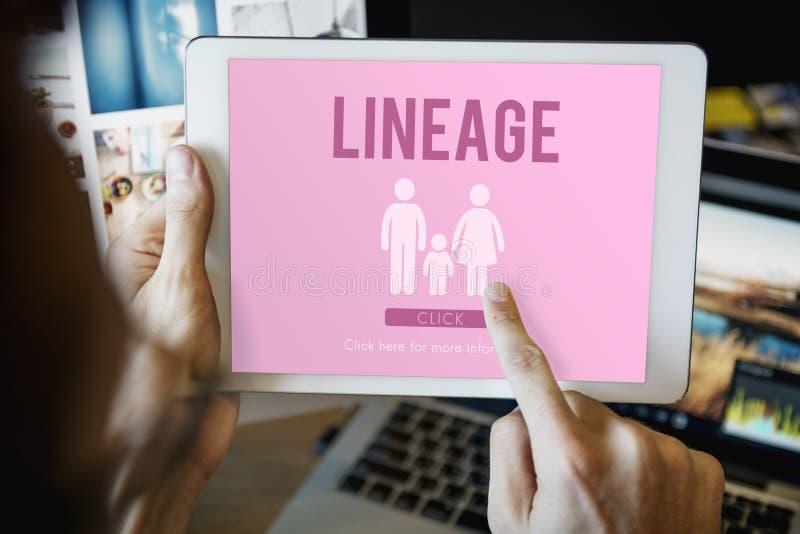 Familien-Sorgfalt-Genealogie-Liebes-in Verbindung stehendes Hauptkonzept stockbild