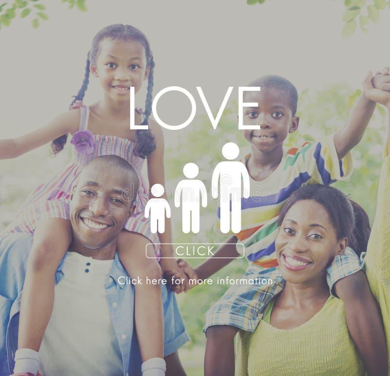Familien-Sorgfalt-Genealogie-Liebes-in Verbindung stehendes Hauptkonzept lizenzfreies stockfoto