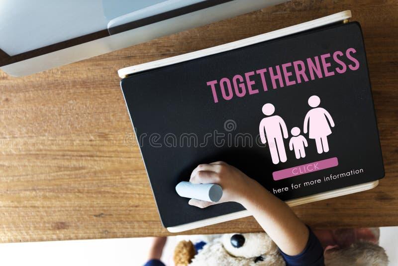Familien-Sorgfalt-Genealogie-Liebes-in Verbindung stehendes Hauptkonzept stockfoto