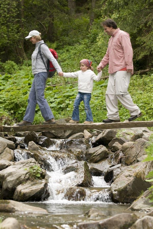 Familien-Trekking lizenzfreie stockbilder