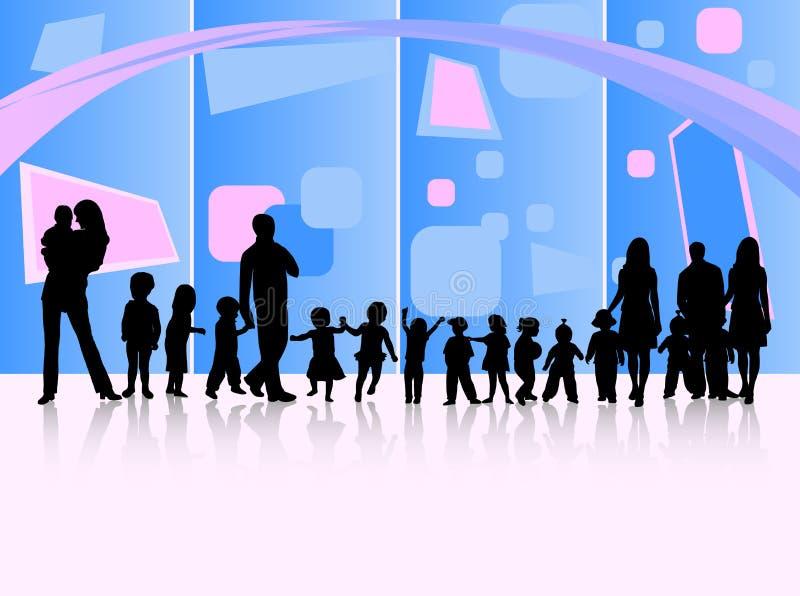 Familien und Auszug stock abbildung