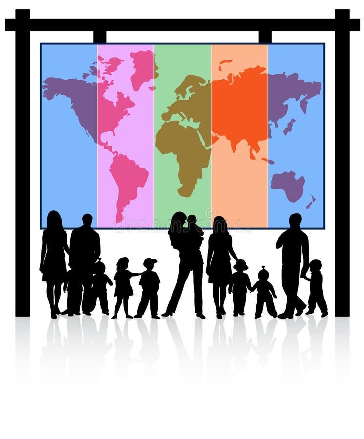 Familien und Karte lizenzfreie abbildung