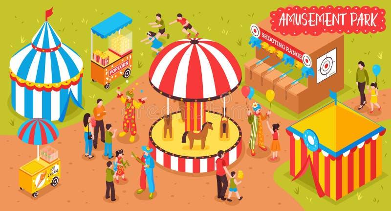Familien-Unterhaltungs-Park-Hintergrund stock abbildung