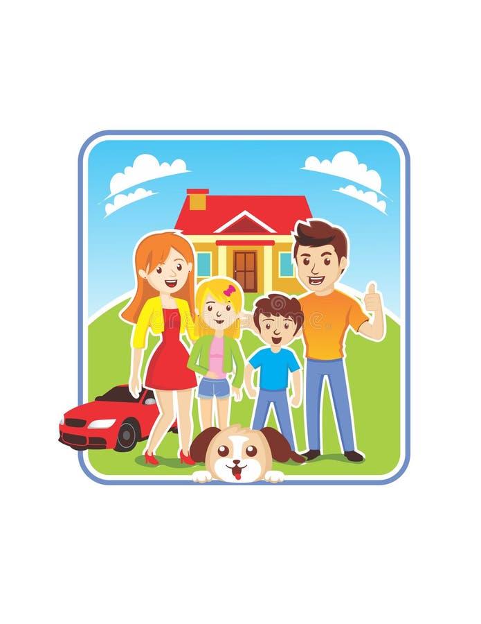 FAMILIEN-VERSICHERUNGS-ILLUSTRATION lizenzfreie abbildung