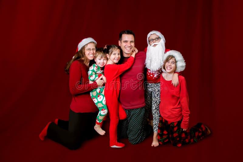 Familien-Weihnachtsporträt-Linie lizenzfreie stockfotografie