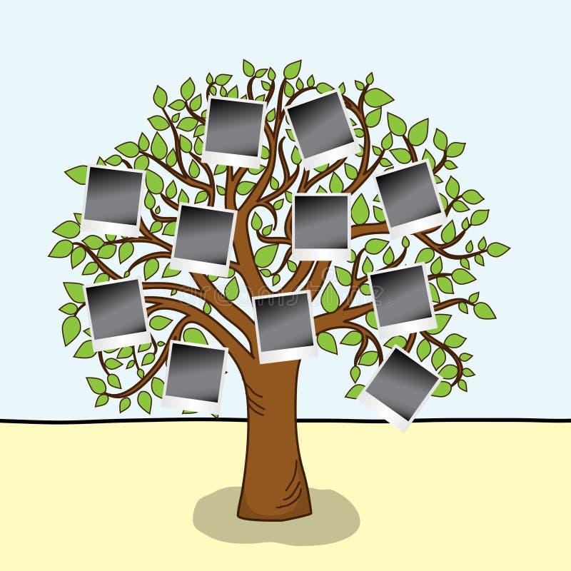 Familienalbum. Baum mit Feldern für Ihre Fotos. stock abbildung