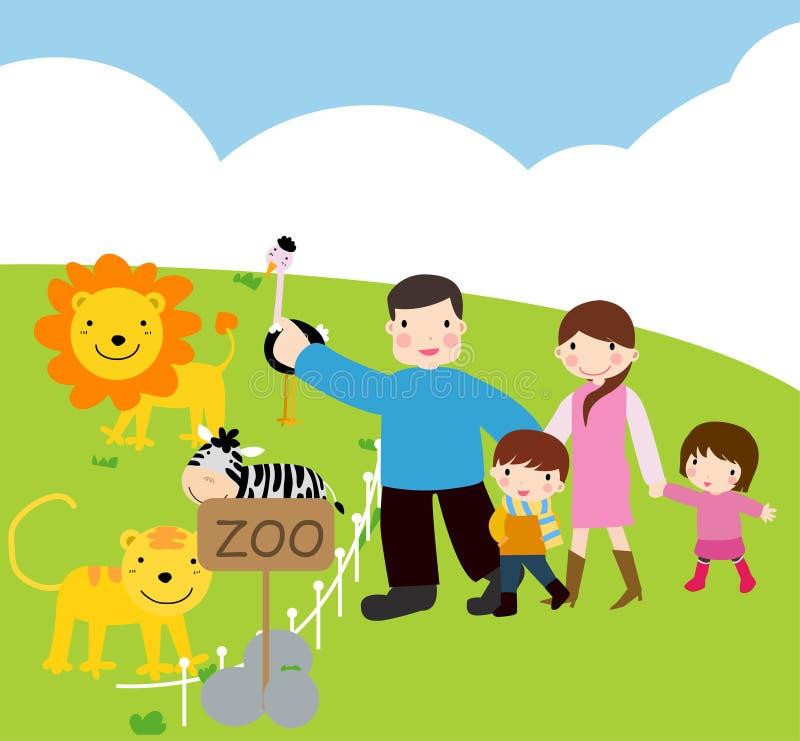 Familienbesuch zum Zoo vektor abbildung