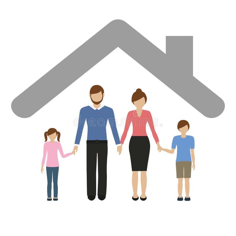 Familiencharaktermuttervaterjunge und -m?dchen unter einem Dach lizenzfreie abbildung