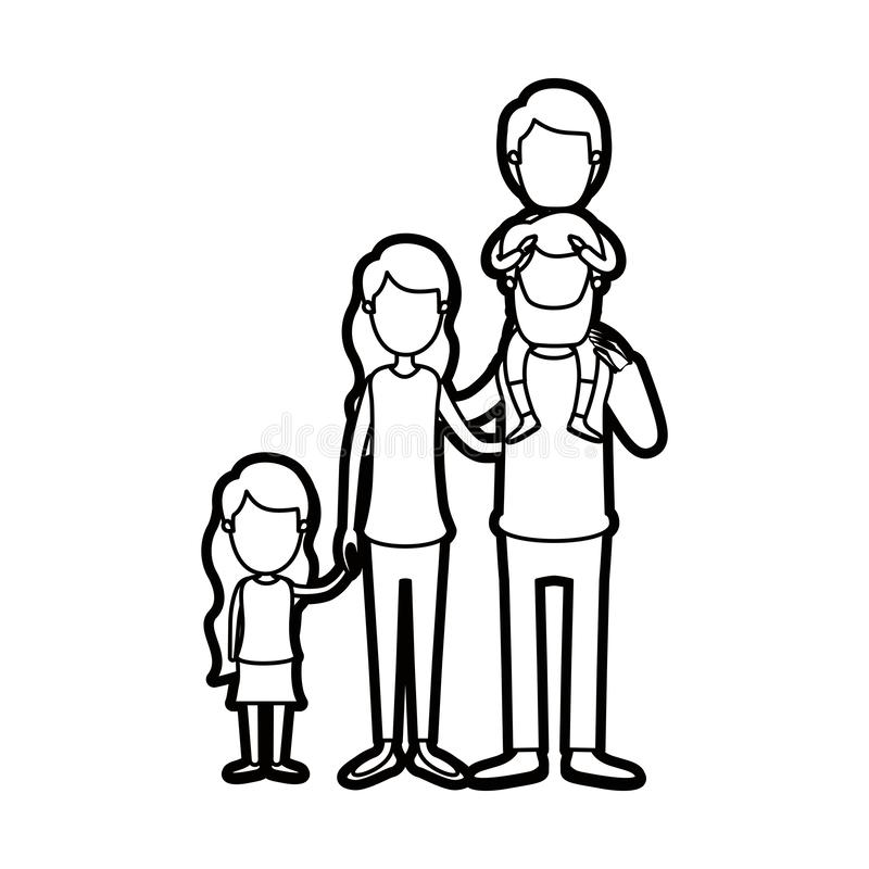 Familieneltern der starken Kontur der Karikatur gesichtslose große mit Jungen auf seiner Rückseite und daugther genommenen Händen stock abbildung