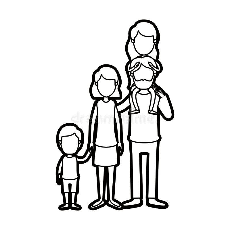 Familieneltern der starken Kontur der Karikatur gesichtslose große mit Mädchen auf seiner Rückseite und Sohn genommenen Händen lizenzfreie abbildung