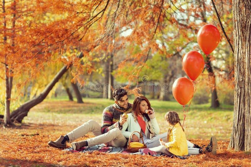 Familienfallpicknick lizenzfreie stockbilder