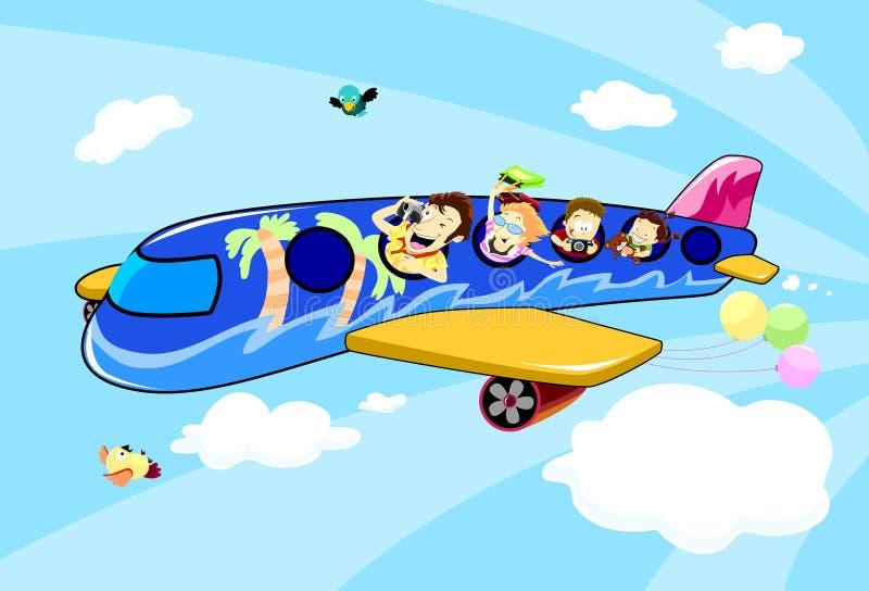 Familienferienreise auf einem Flugzeug stock abbildung