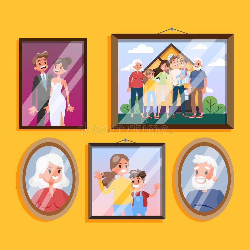 Familienfoto im Rahmen, der am Wandsatz h?ngt lizenzfreie abbildung