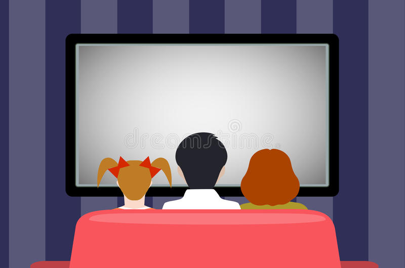 Familienfreizeit, Leute hinter Betrachtung des Fernsehens, flache Art lizenzfreie abbildung