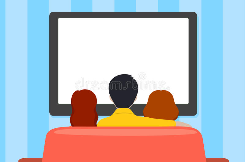 Familienfreizeit, Leute hinter Betrachtung des Fernsehens, flache Art vektor abbildung