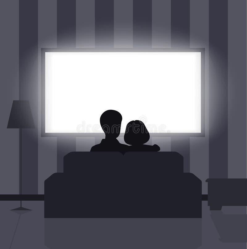 Familienfreizeit, Leute hinter Betrachtung des Fernsehens nachts vektor abbildung