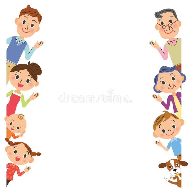 Familienhaltungsrahmen stock abbildung