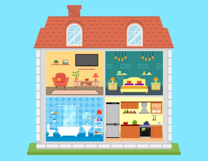 Familienhaus im Schnitt lizenzfreie abbildung