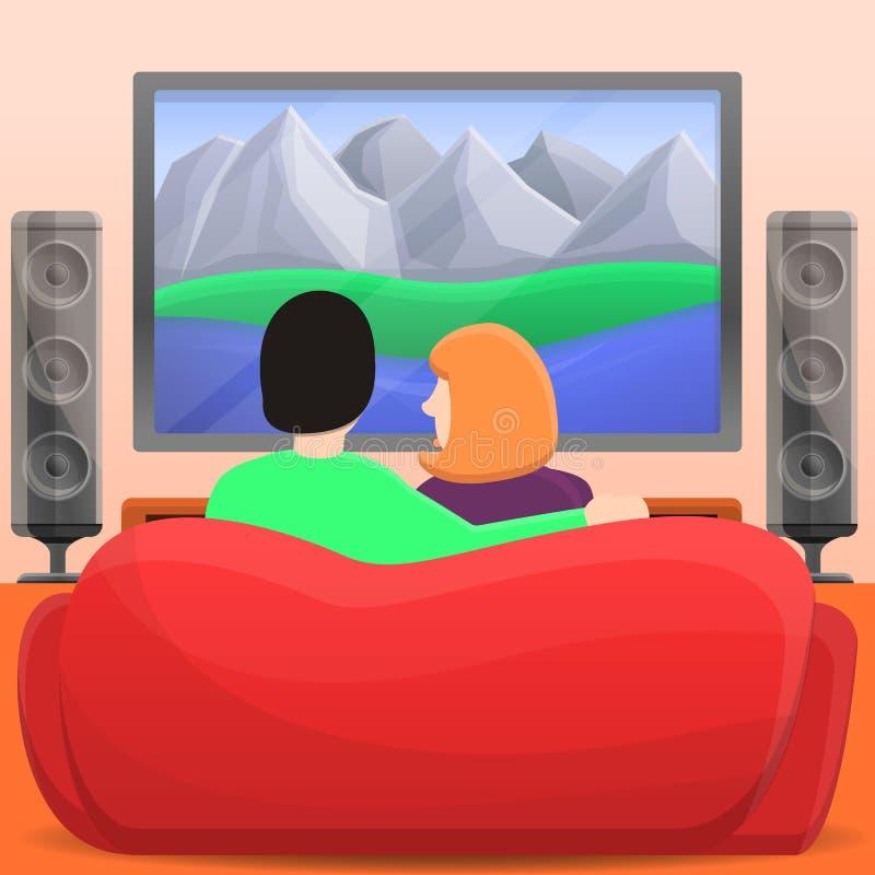 Familienhausfilm-Konzepthintergrund, Karikaturart vektor abbildung