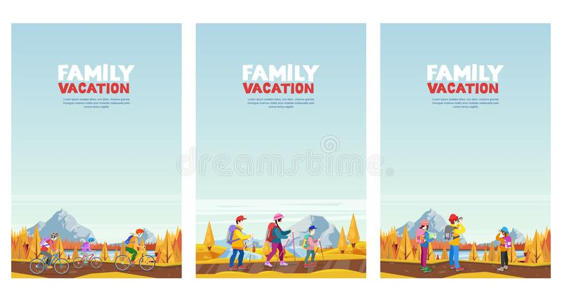 Familienherbstferien Das Radfahren, wandernd und trägt draußen Tätigkeit zur Schau Vektorkarikatur-Artillustrationen eingestellt lizenzfreie abbildung
