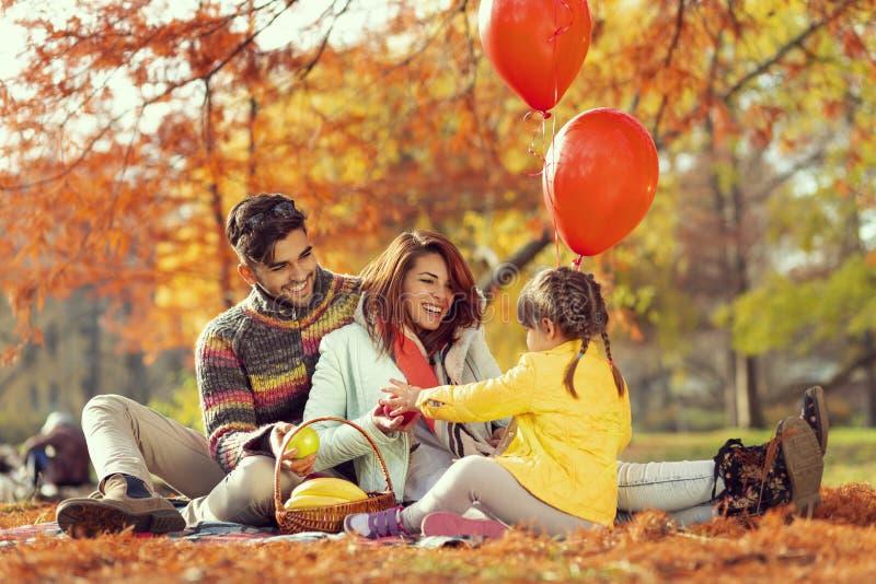 Familienherbsttag in der Natur lizenzfreie stockfotografie