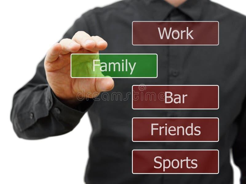 Familienleben wählend, arbeiten Sie stattdessen, Partei lizenzfreies stockbild