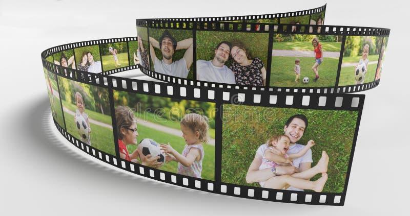 Familienlebenkonzept Fotos der glücklichen Familie auf Filmstreifen 3D übertrug Abbildung vektor abbildung
