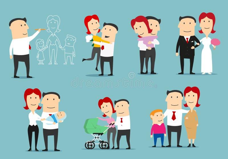 Familienlebenzyklus-Karikaturzeichensatzdesign lizenzfreie abbildung