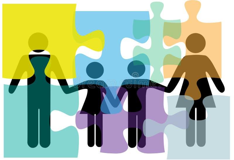 Familienleute-Gesundheitsproblem-Lösungspuzzlespiel vektor abbildung