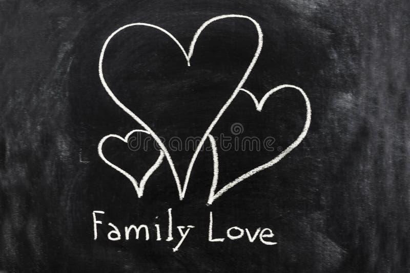 Familienliebe skizziert auf der Tafel lizenzfreie stockfotografie