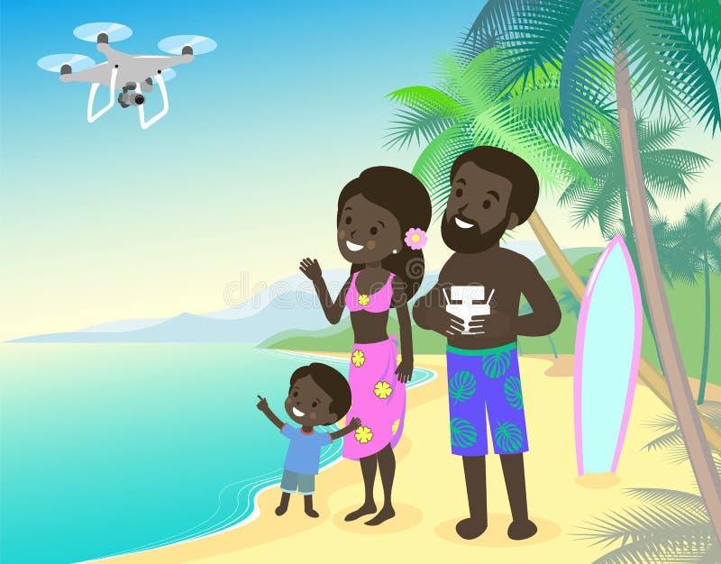 Familienmuttervati und -kinder scherzen Küsten-Ozeanmeer des Jungen im Urlaub mit afrikanischer indischer brauner Haut quadcopter lizenzfreie abbildung