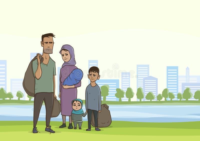 Familienobdachloser oder -flüchtlinge, ein Mann und eine Frau mit Kindern in der Großstadt Vektorabbildung mit copyspace lizenzfreie abbildung