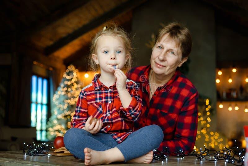 Familienporträt der Großmutter und der Enkelin zu Hause auf Weihnachtsmorgen mit verziertem Weihnachtsbaum mit Lichtern lizenzfreie stockfotos