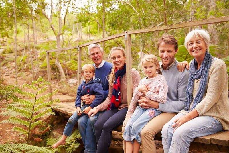Familienporträt von mehreren Generationen auf einer Brücke in einem Wald lizenzfreie stockfotografie