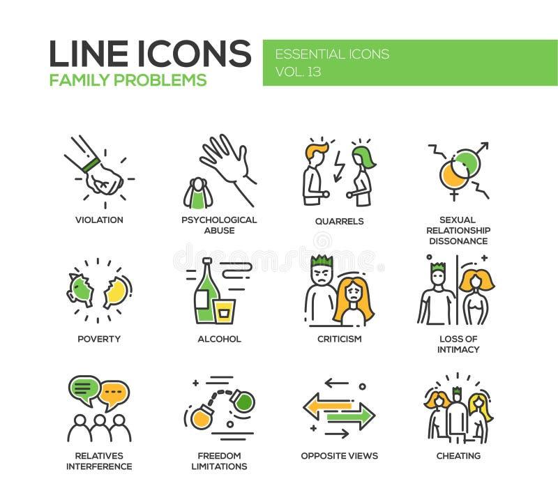Familienproblemlinie Designikonen eingestellt vektor abbildung