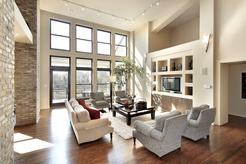 Familienraum im Plan des geöffneten Fußbodens stockbild