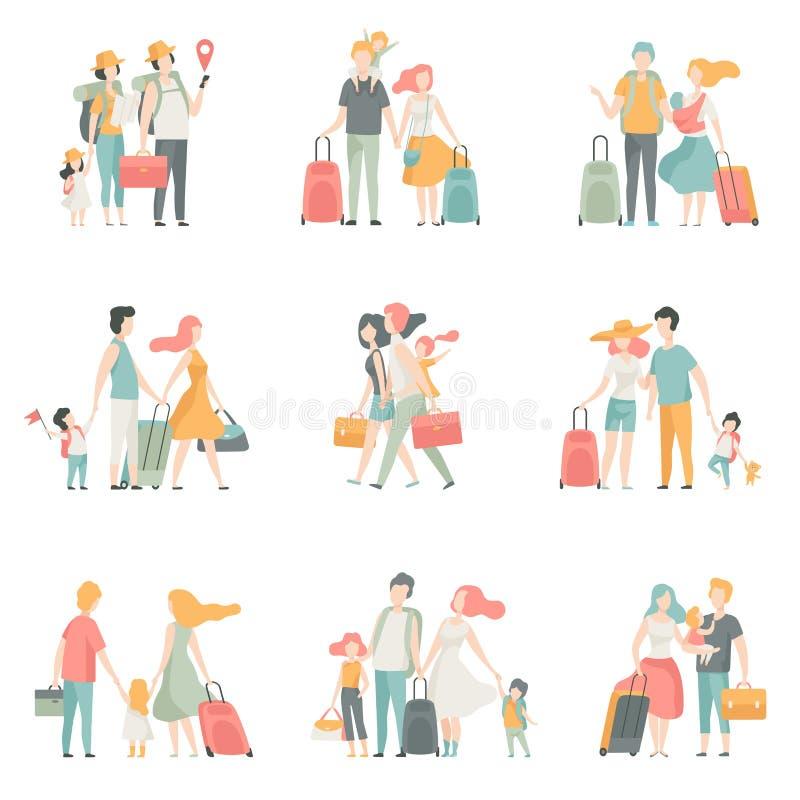 Familienreise Satz-, Vater-, Mutter-und Kindercharaktere, die zusammen Vektor-Illustration reisen stock abbildung