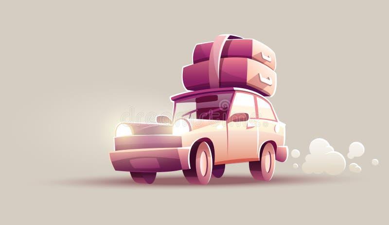 Familienreiseferien-Antriebsreise mit dem Auto lizenzfreie abbildung