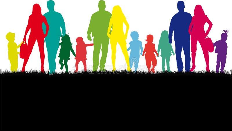 Familienschattenbilder in der Natur vektor abbildung