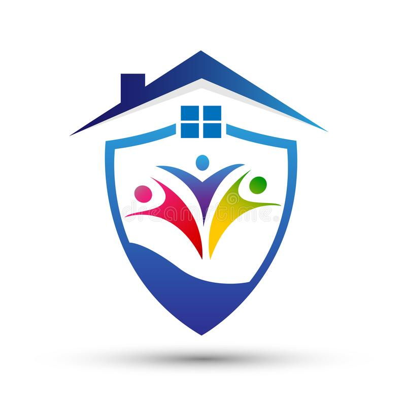 Familienschildlogofamilienhausschutzsicherheits-Sicherheitslogo auf weißem Hintergrund vektor abbildung