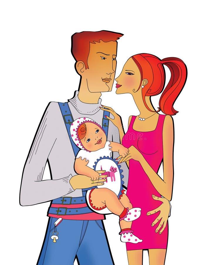Familienszene: Vati mit einer kleinen Tochter in einem Kängururucksack, der Mutter mit einer Hand umarmt Das Mädchen hält Mutter  lizenzfreie abbildung