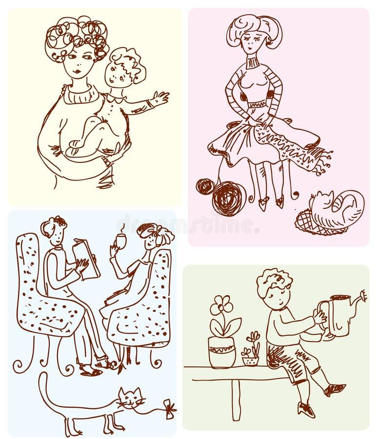 Familienszenenkarikatur lizenzfreie abbildung
