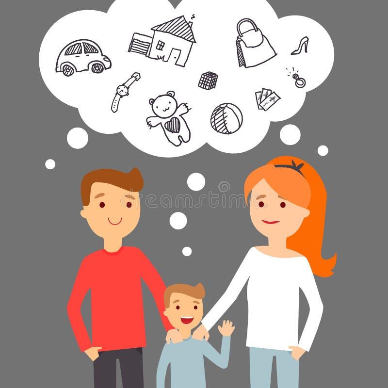 Familienträume über Erfolg stockbilder