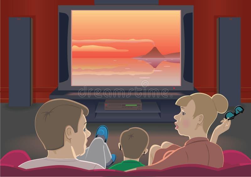 Familienuhr Fernsehapparat vektor abbildung