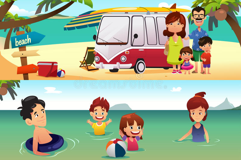 Familienurlaub auf dem Strand stock abbildung