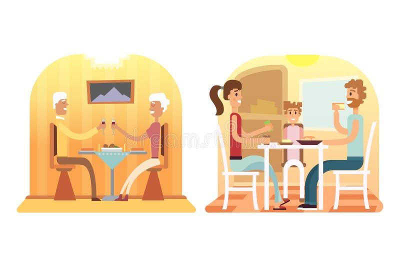 Familienurlaubkarikaturkonzepte Mutter, Vati, Sohn, Tochter am Abendessen lizenzfreie abbildung