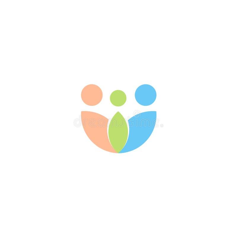 Familienvektorlogo, Eltern lieben Ikone, Annahmeemblem, Zusammenfassungsblatt-Firmenzeichenschablone vektor abbildung