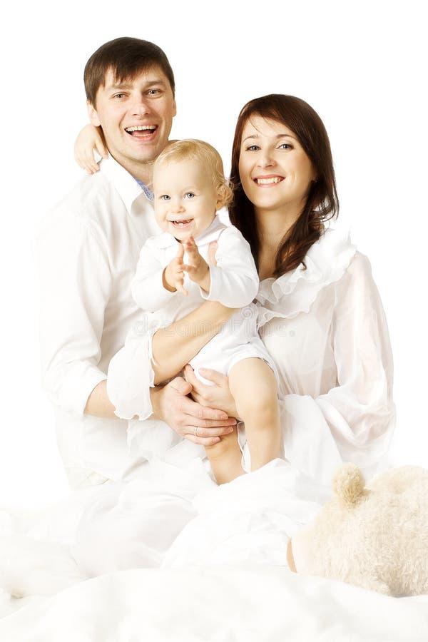 Familieportret, Moedervader en Baby, Ouders met Jong geitje royalty-vrije stock foto's