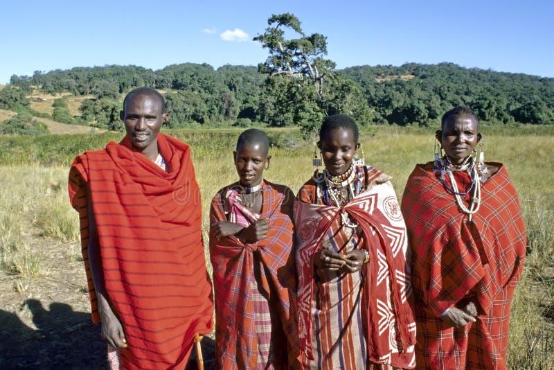 Familieportret van Maasai, natuurreservaat Rift Valley stock fotografie